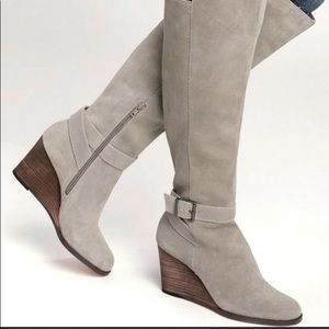 Sole Society Paloma Suede Wedge Boots Mushroom 7.5